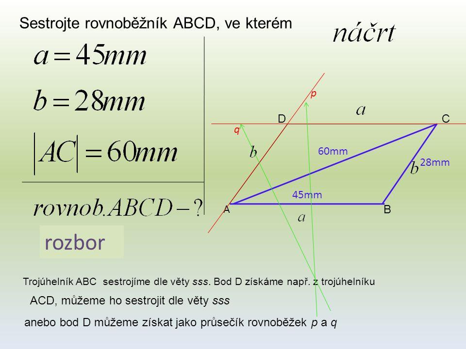 rozbor Sestrojte rovnoběžník ABCD, ve kterém p D C q 60mm 28mm 45mm A