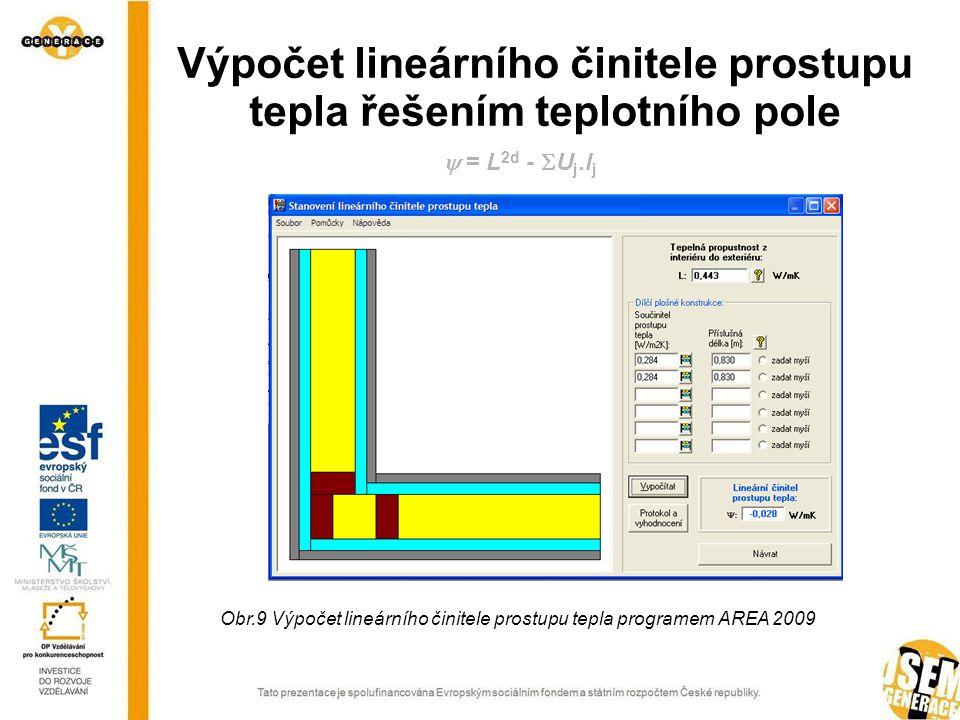 Výpočet lineárního činitele prostupu tepla řešením teplotního pole