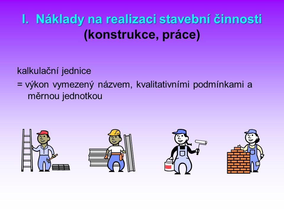 I. Náklady na realizaci stavební činnosti (konstrukce, práce)