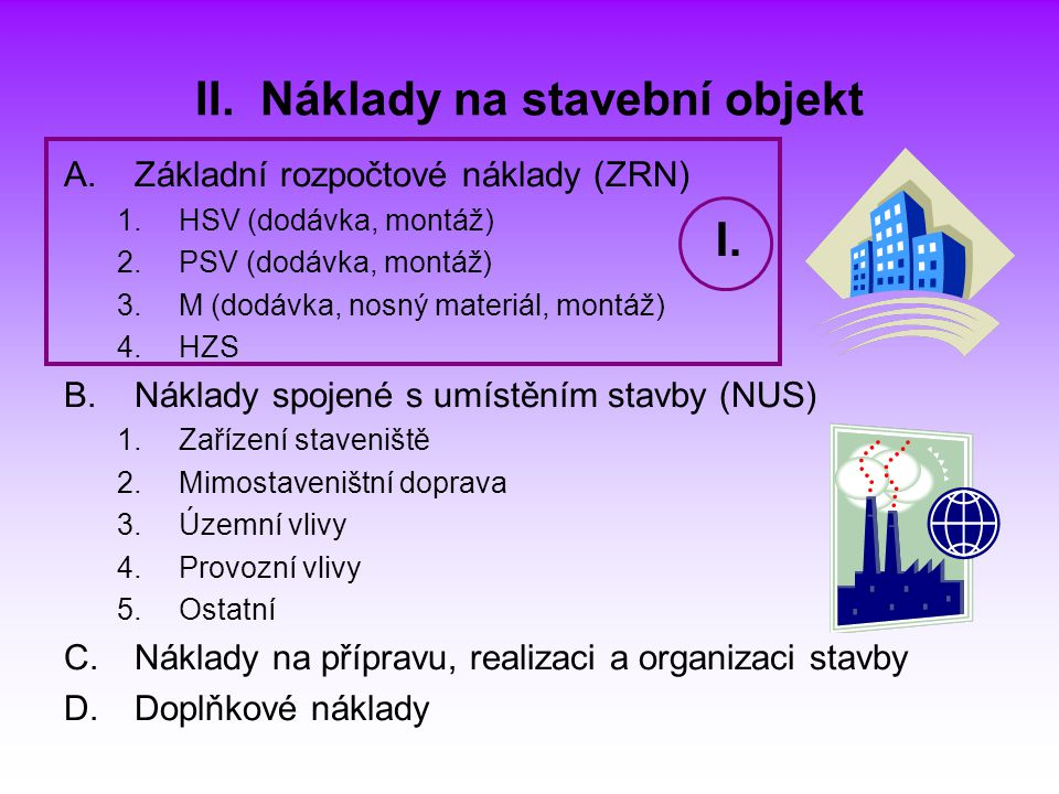 II. Náklady na stavební objekt