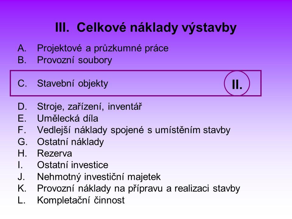 III. Celkové náklady výstavby