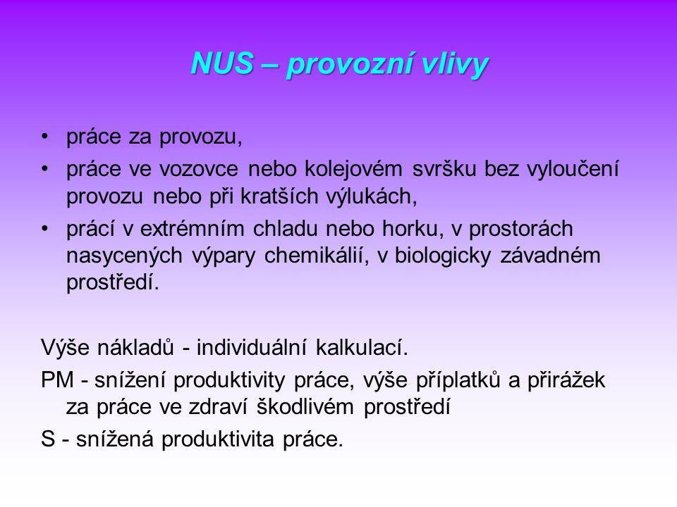 NUS – provozní vlivy práce za provozu,