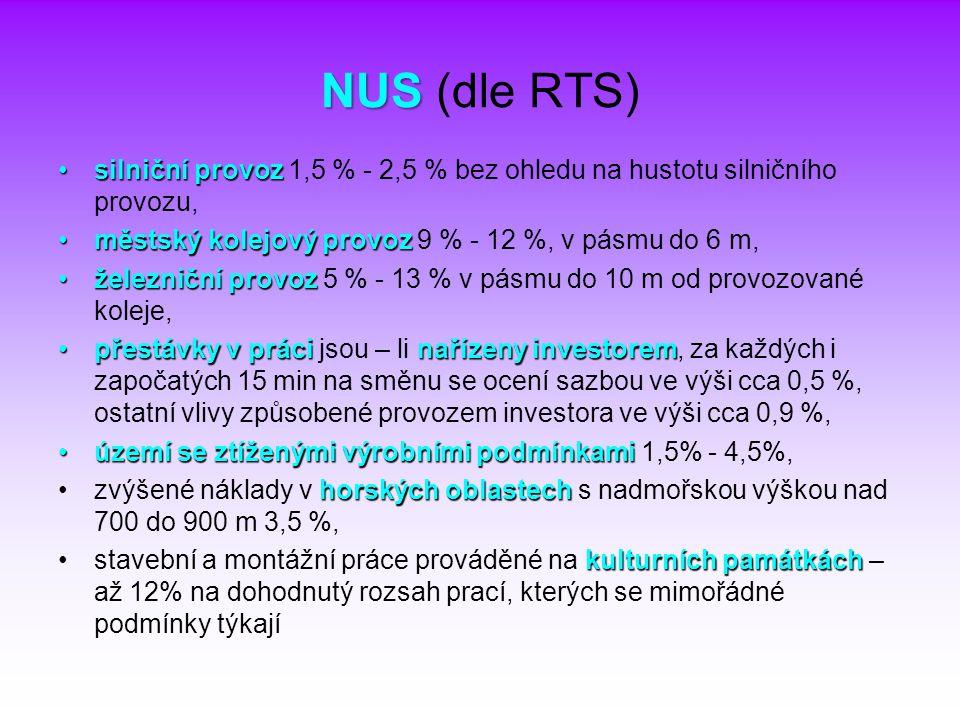NUS (dle RTS) silniční provoz 1,5 % - 2,5 % bez ohledu na hustotu silničního provozu, městský kolejový provoz 9 % - 12 %, v pásmu do 6 m,