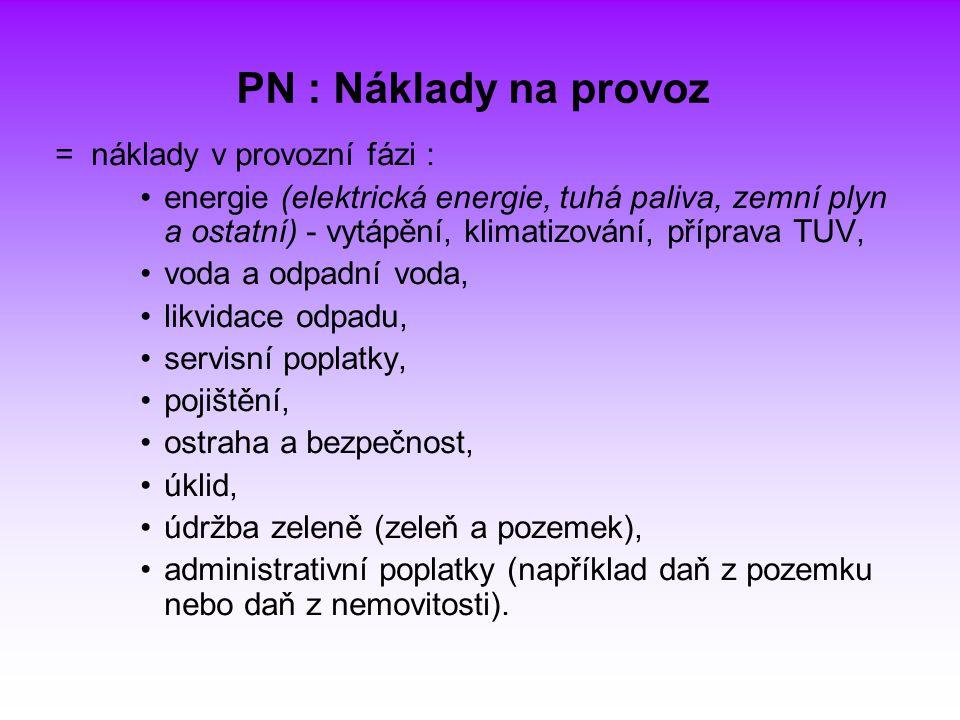 PN : Náklady na provoz = náklady v provozní fázi :