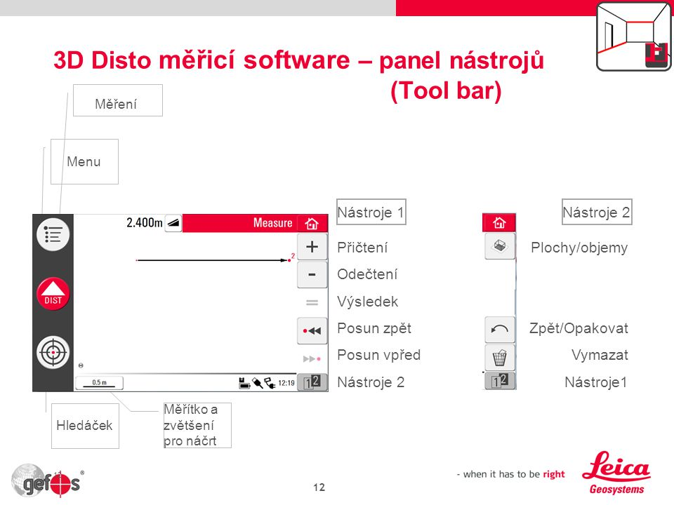 3D Disto měřicí software – panel nástrojů (Tool bar)