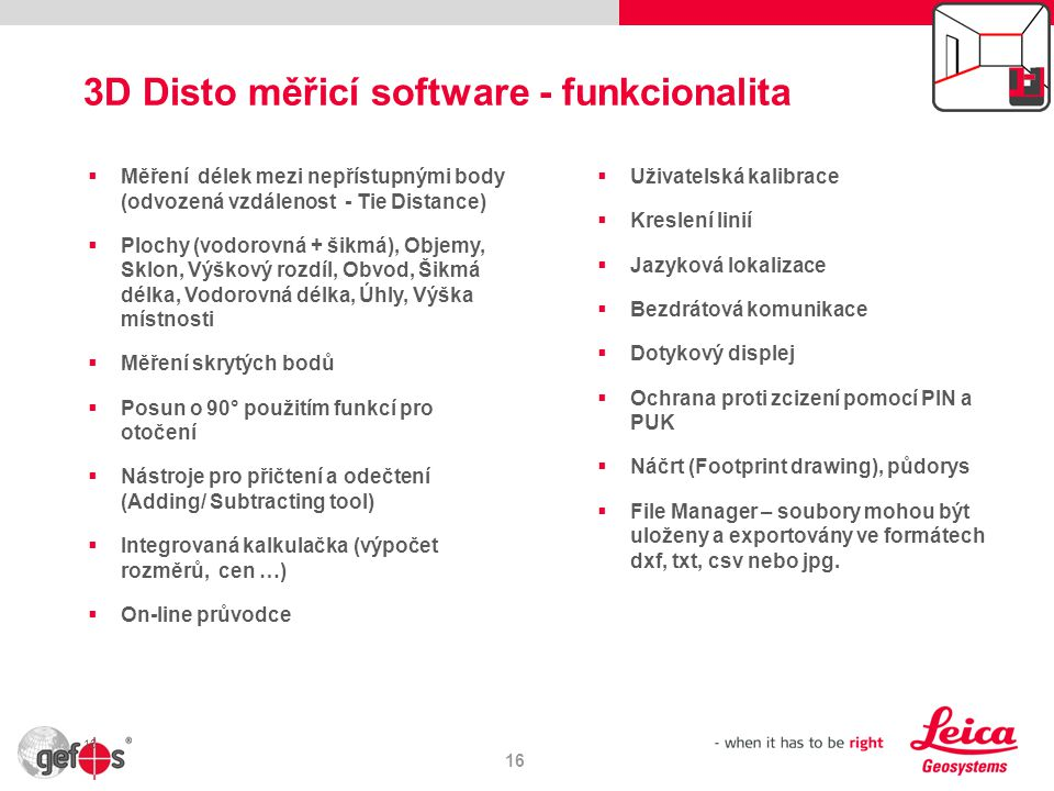 3D Disto měřicí software - funkcionalita