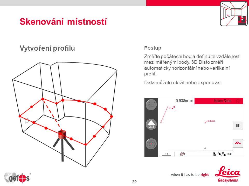 Skenování místností Vytvoření profilu Postup