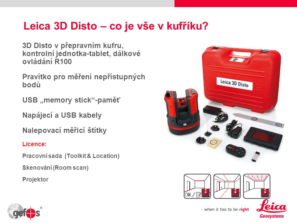 Leica 3D Disto – co je vše v kufříku