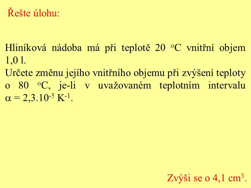 Řešte úlohu: Hliníková nádoba má při teplotě 20 oC vnitřní objem 1,0 l.