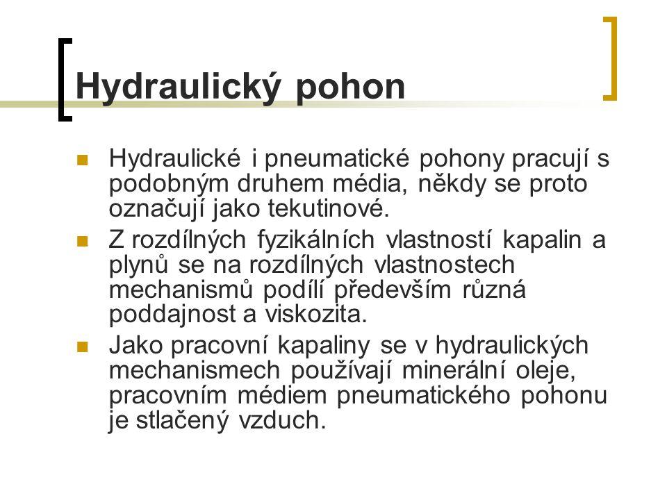 Hydraulický pohon Hydraulické i pneumatické pohony pracují s podobným druhem média, někdy se proto označují jako tekutinové.