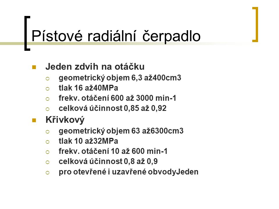 Pístové radiální čerpadlo