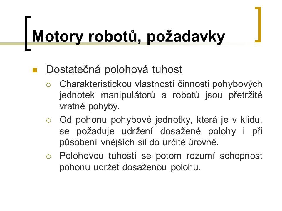 Motory robotů, požadavky