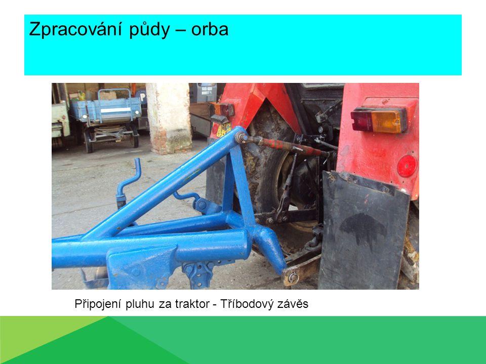 Zpracování půdy – orba Připojení pluhu za traktor - Tříbodový závěs