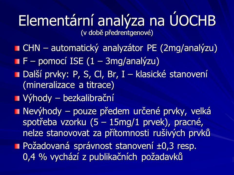 Elementární analýza na ÚOCHB (v době předrentgenové)