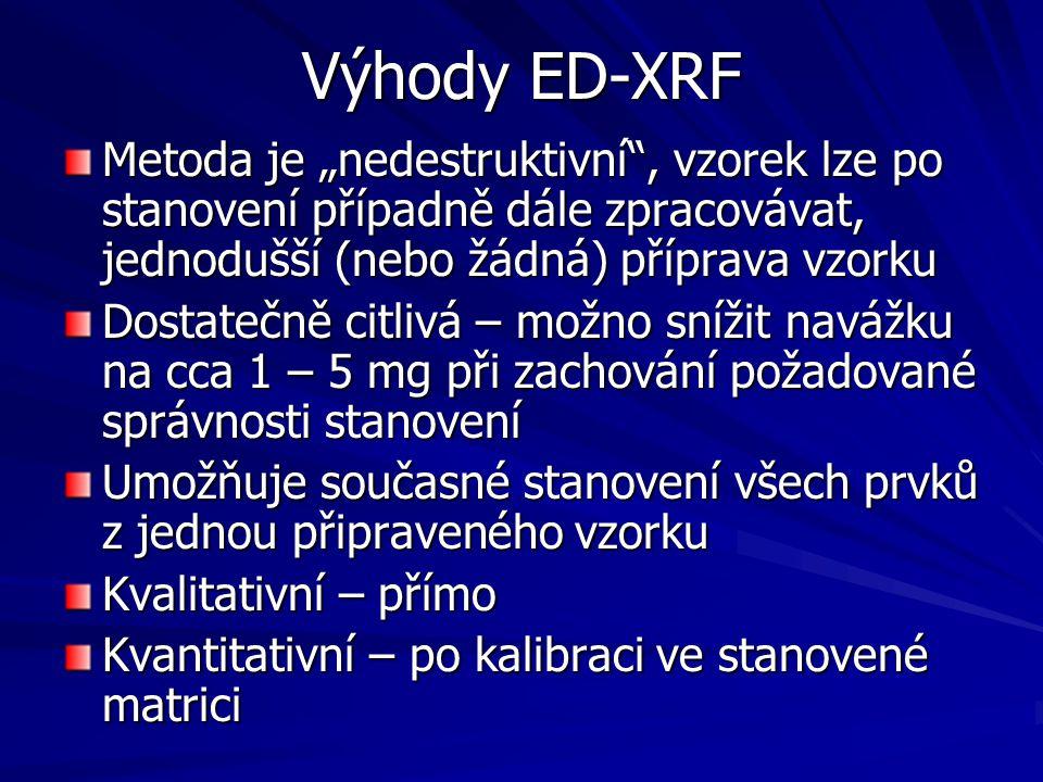 """Výhody ED-XRF Metoda je """"nedestruktivní , vzorek lze po stanovení případně dále zpracovávat, jednodušší (nebo žádná) příprava vzorku."""