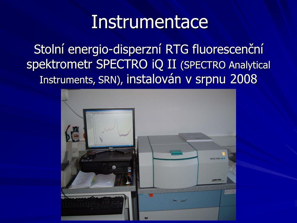 Instrumentace Stolní energio-disperzní RTG fluorescenční spektrometr SPECTRO iQ II (SPECTRO Analytical Instruments, SRN), instalován v srpnu 2008.