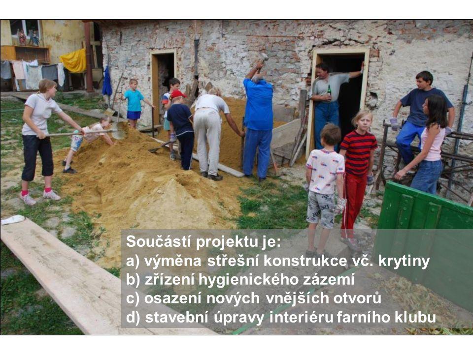 Součástí projektu je: a) výměna střešní konstrukce vč. krytiny. b) zřízení hygienického zázemí. c) osazení nových vnějších otvorů.
