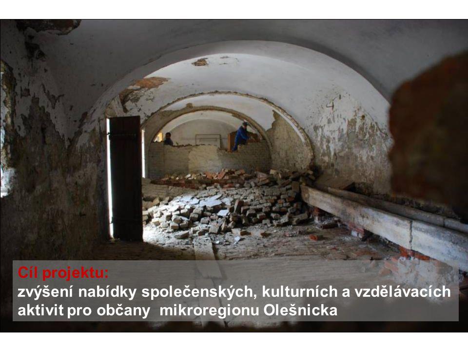 Cíl projektu: zvýšení nabídky společenských, kulturních a vzdělávacích aktivit pro občany mikroregionu Olešnicka.