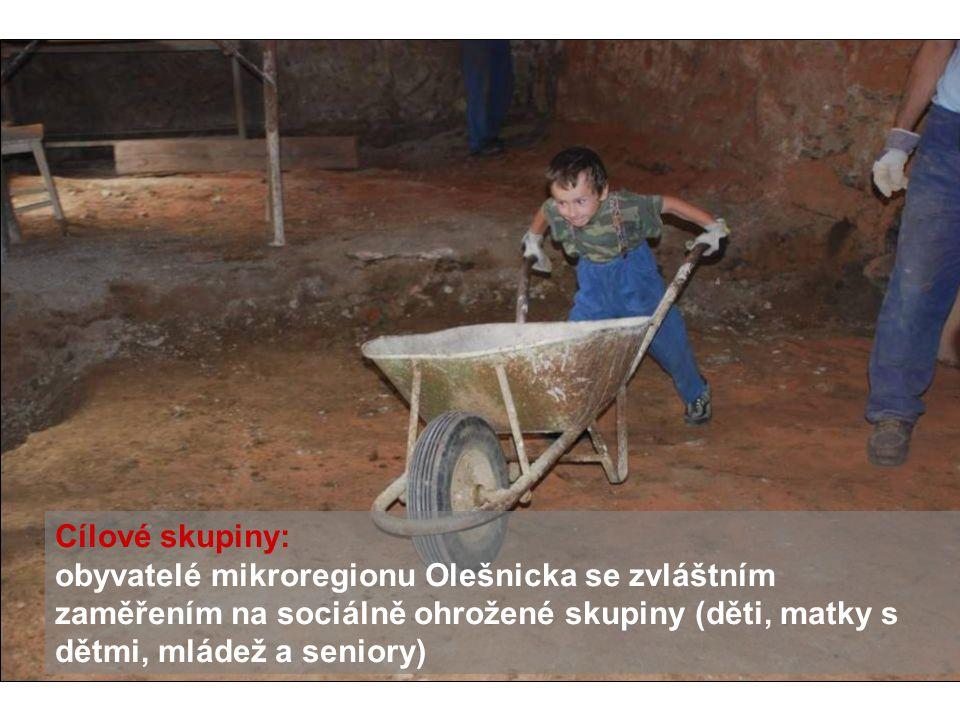 Cílové skupiny: obyvatelé mikroregionu Olešnicka se zvláštním zaměřením na sociálně ohrožené skupiny (děti, matky s dětmi, mládež a seniory)