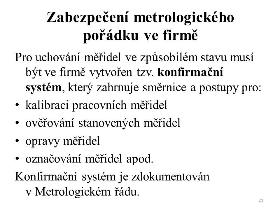 Zabezpečení metrologického pořádku ve firmě