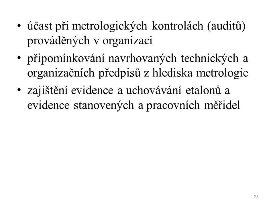 účast při metrologických kontrolách (auditů) prováděných v organizaci