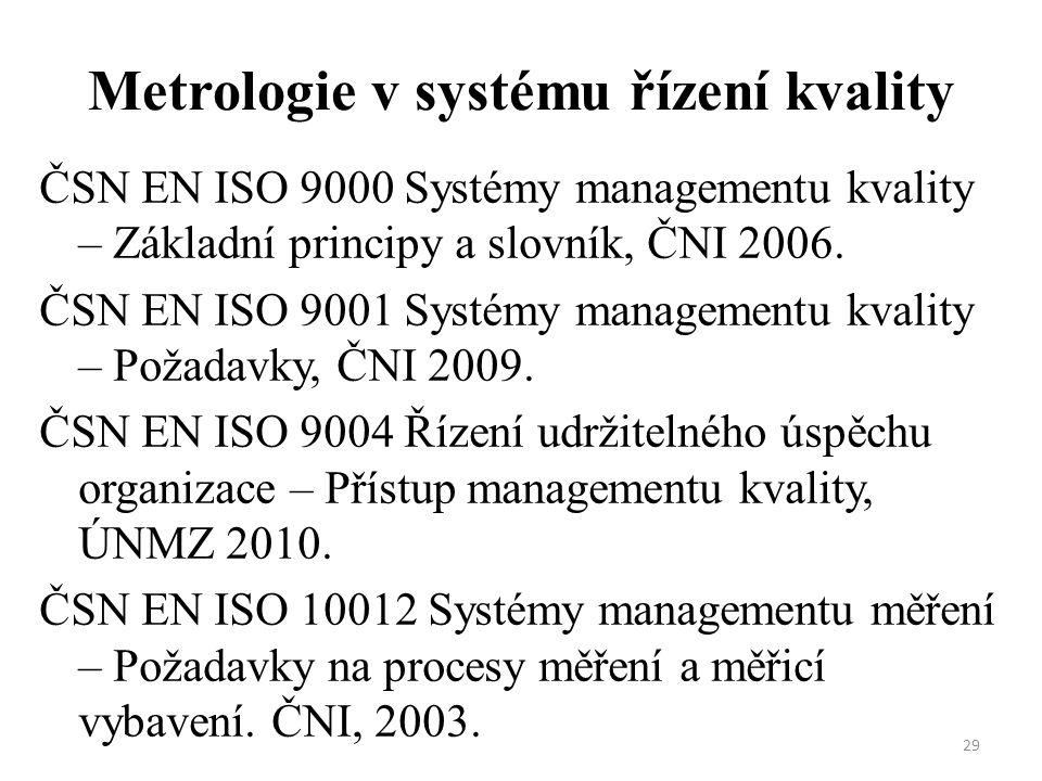 Metrologie v systému řízení kvality