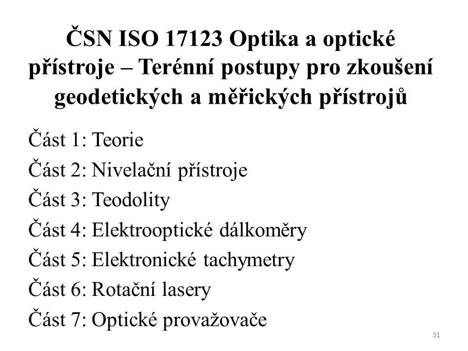 ČSN ISO 17123 Optika a optické přístroje – Terénní postupy pro zkoušení geodetických a měřických přístrojů