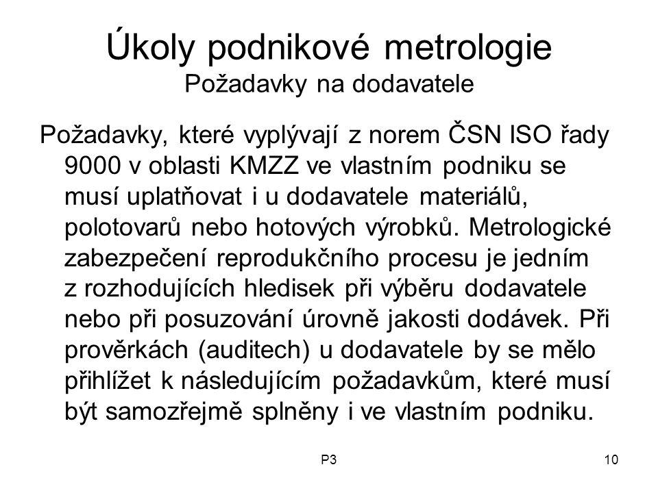Úkoly podnikové metrologie Požadavky na dodavatele