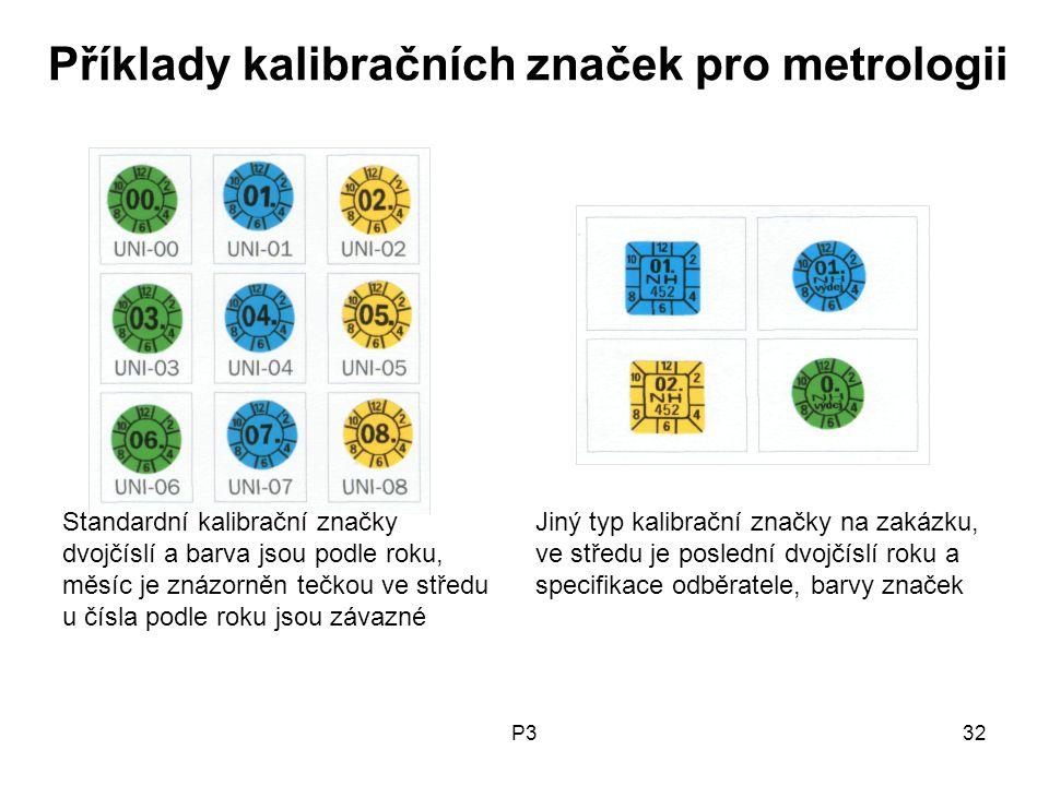 Příklady kalibračních značek pro metrologii