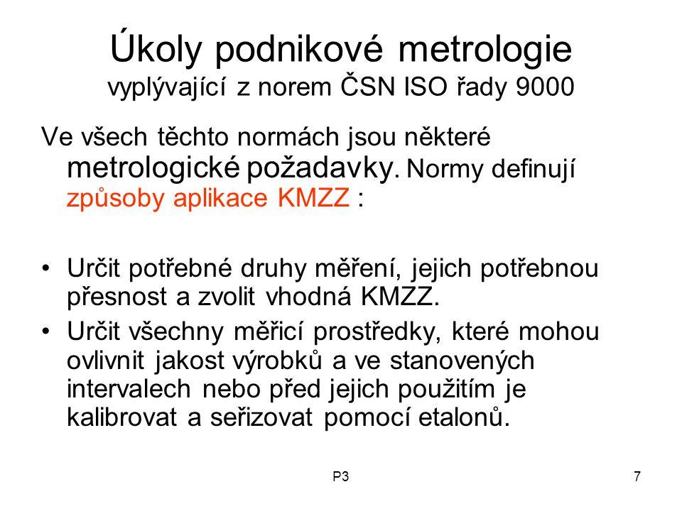 Úkoly podnikové metrologie vyplývající z norem ČSN ISO řady 9000