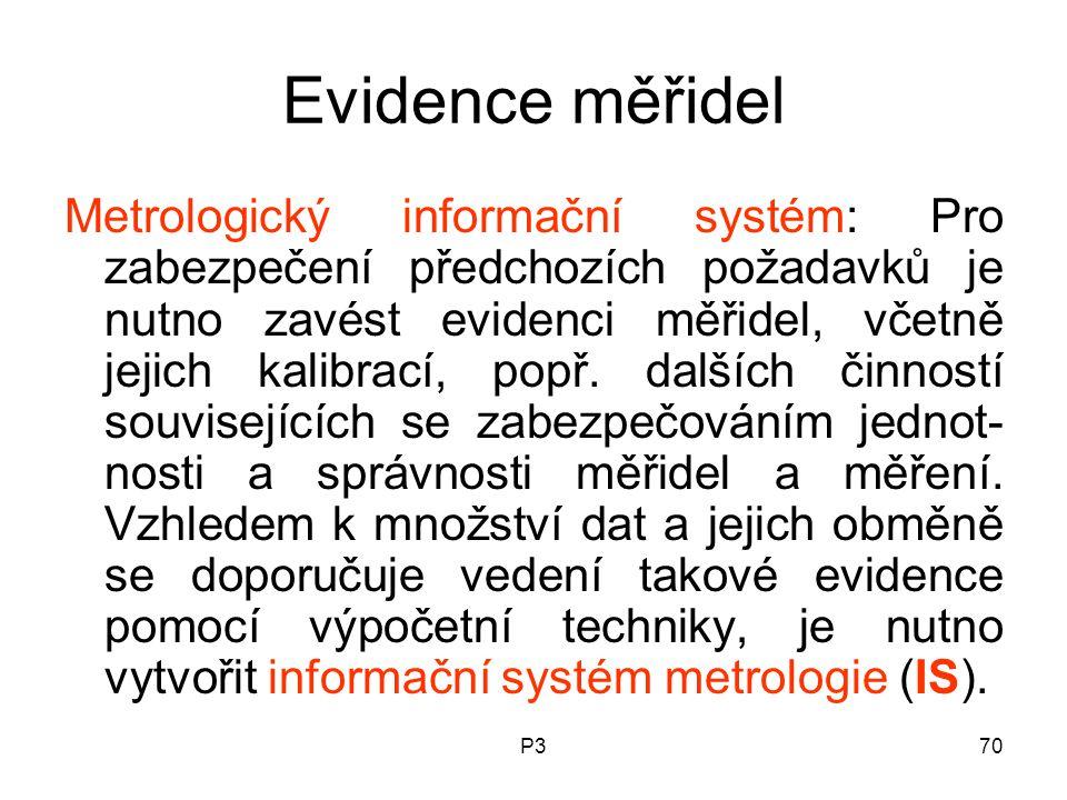Evidence měřidel