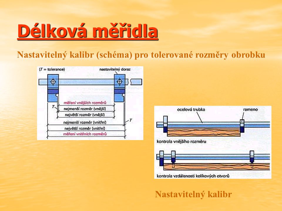 Délková měřidla Nastavitelný kalibr (schéma) pro tolerované rozměry obrobku Nastavitelný kalibr