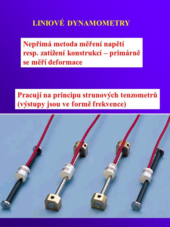 LINIOVÉ DYNAMOMETRY Nepřímá metoda měření napětí. resp. zatížení konstrukcí – primárně. se měří deformace.