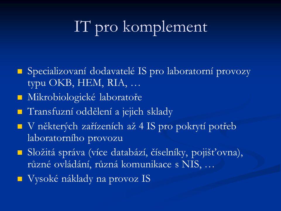 IT pro komplement Specializovaní dodavatelé IS pro laboratorní provozy typu OKB, HEM, RIA, … Mikrobiologické laboratoře.