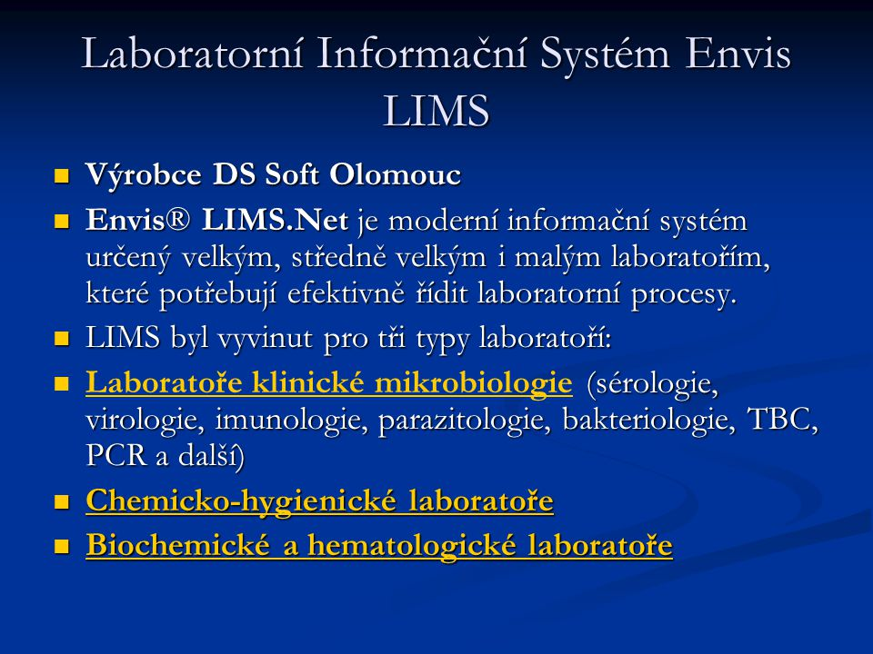 Laboratorní Informační Systém Envis LIMS