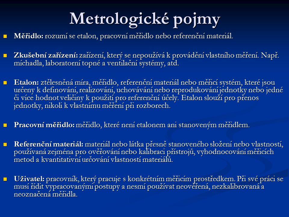 Metrologické pojmy Měřidlo: rozumí se etalon, pracovní měřidlo nebo referenční materiál.