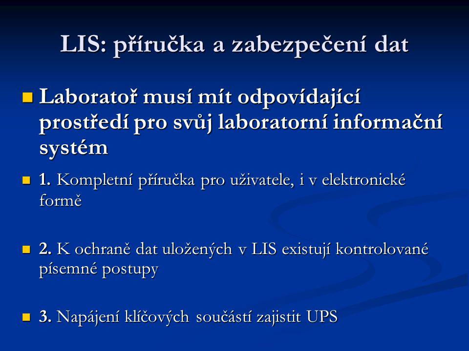 LIS: příručka a zabezpečení dat
