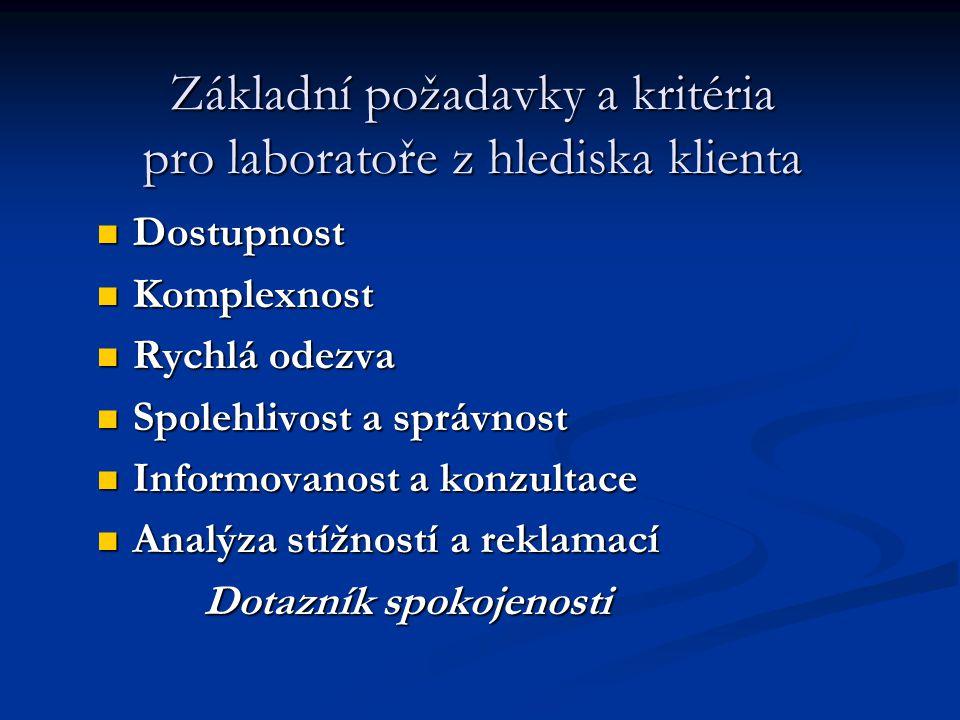 Základní požadavky a kritéria pro laboratoře z hlediska klienta