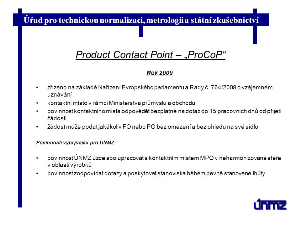 "Product Contact Point – ""ProCoP"