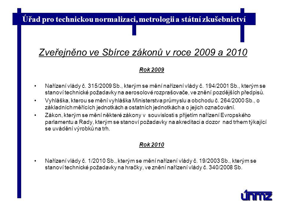 Zveřejněno ve Sbírce zákonů v roce 2009 a 2010