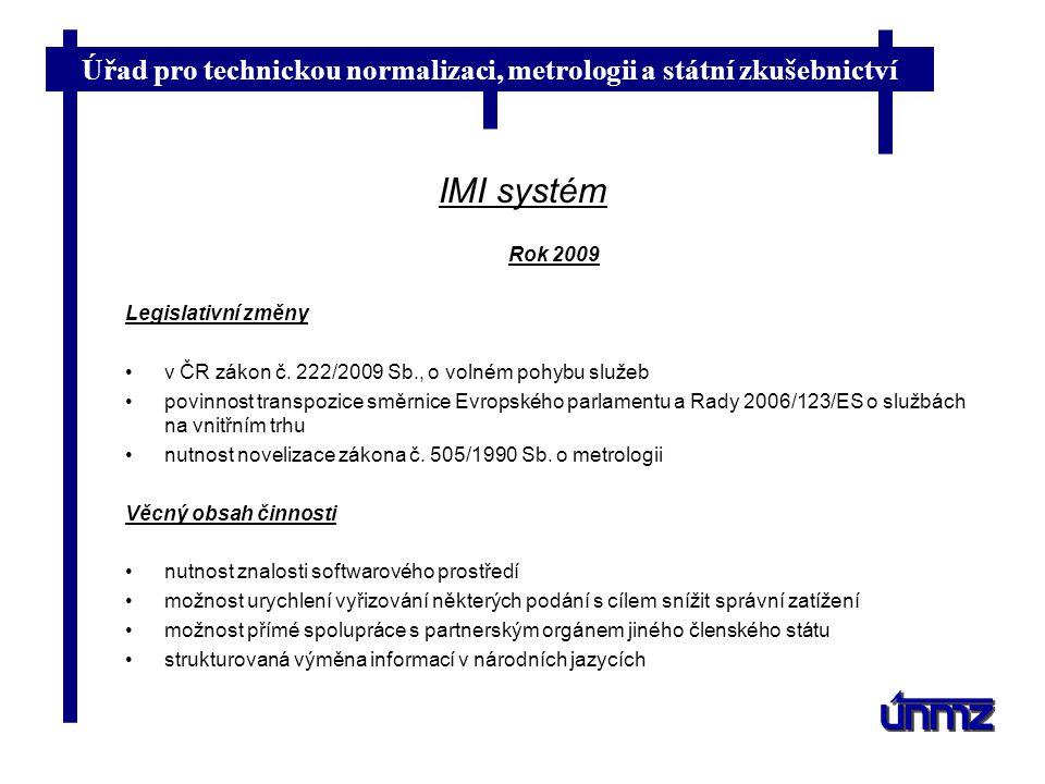 IMI systém Rok 2009 Legislativní změny