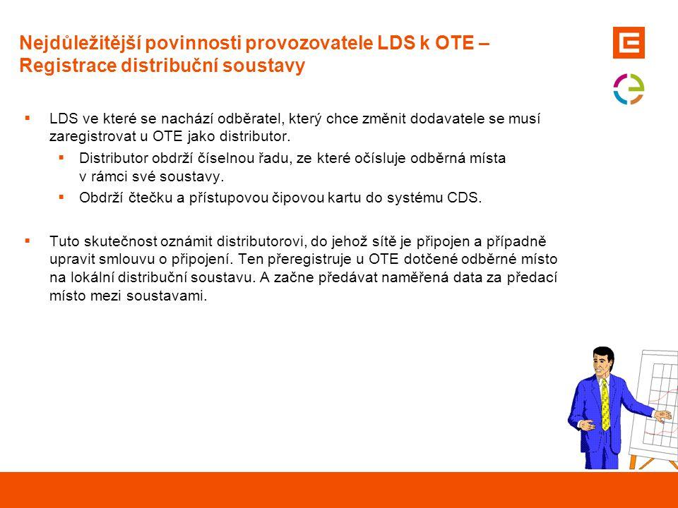 Nejdůležitější povinnosti provozovatele LDS k OTE – Registrace distribuční soustavy