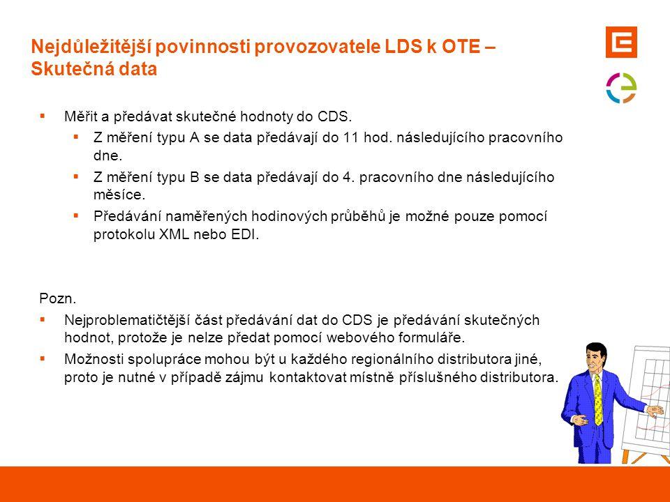 Nejdůležitější povinnosti provozovatele LDS k OTE – Skutečná data