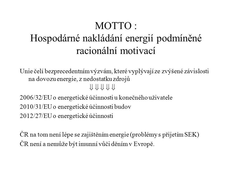 MOTTO : Hospodárné nakládání energií podmíněné racionální motivací