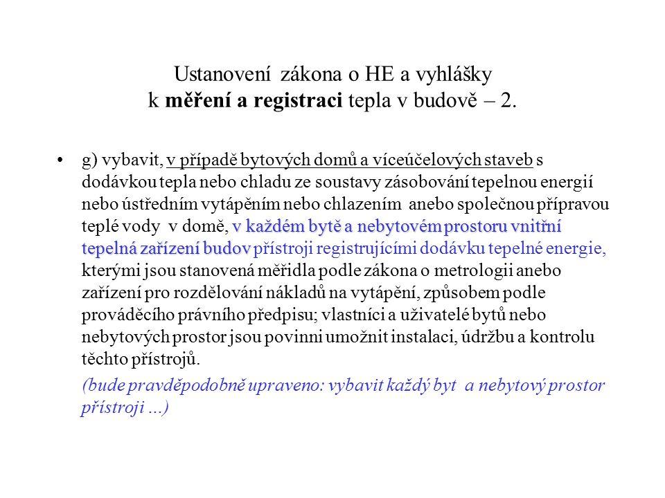 Ustanovení zákona o HE a vyhlášky k měření a registraci tepla v budově – 2.