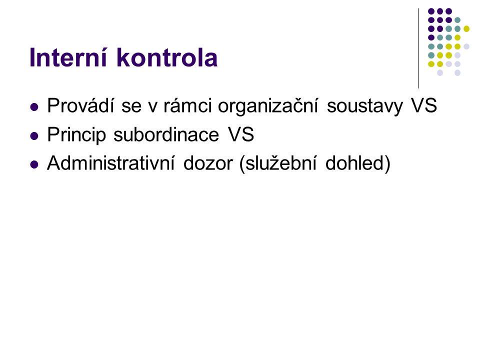 Interní kontrola Provádí se v rámci organizační soustavy VS