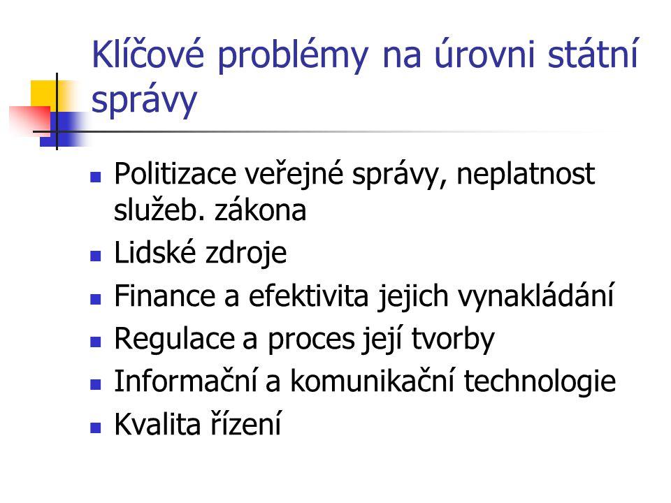 Klíčové problémy na úrovni státní správy
