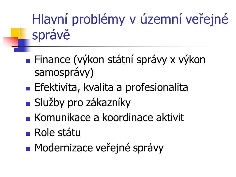 Hlavní problémy v územní veřejné správě