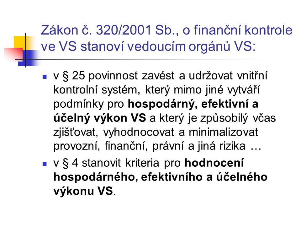 Zákon č. 320/2001 Sb., o finanční kontrole ve VS stanoví vedoucím orgánů VS: