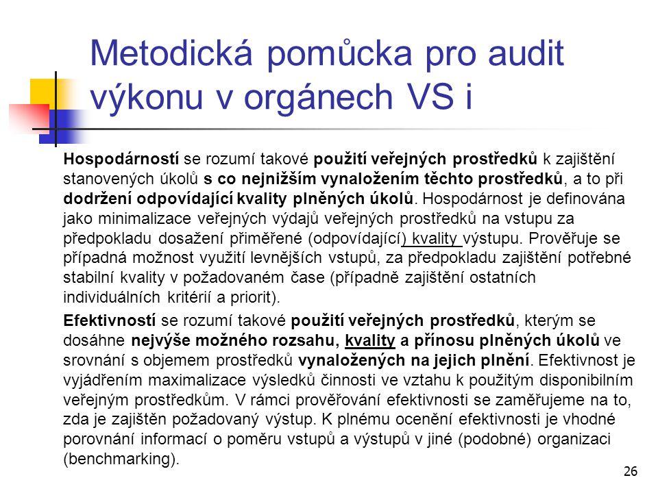 Metodická pomůcka pro audit výkonu v orgánech VS i